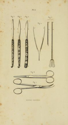 Plate 1. instruments required for making incisions.  Illustrated manual of operative surgery and surgical anatomy by Bernard, Claude, 1813-1878 (https://www.pinterest.com/pin/287386019945557319/); Huette, Ch. (Charles); Van Buren, W. H. (William Holme), 1819-1883; Isaacs, C. E. (Charles Edward), 1811-1860. Published 1855 (https://www.pinterest.com/pin/287386019949720406/).