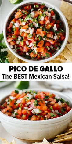 Pico de Gallo is an authentic Mexican chunky salsa recipe that's simple to make at home with fresh ingredients found at any grocery store. It's delicious, addictive and has a spicy kick. food authentic Pico de Gallo Recipe (the BEST Salsa Recipe) Authentic Mexican Recipes, Mexican Salsa Recipes, Mexican Dishes, Mexican Desserts, Authentic Salsa Recipe, Spicy Mexican Food, Salsa Picante, Spicy Salsa, Fresh Salsa