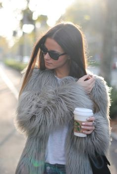 Simple shirt, jeans & fabulous shaggy coat