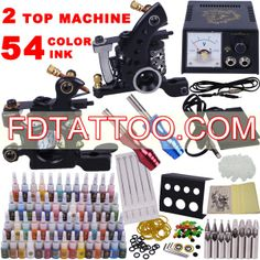 2 Guns Tattoo Kit with Smart Pointer Power and 54 Color Ink  Wholesale Price:US $50.17