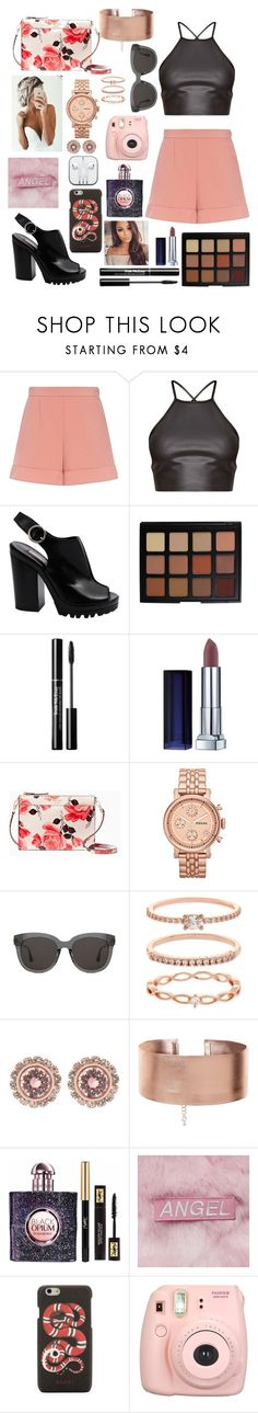 """""""Pink angel"""" by polina18necko ❤ liked on Polyvore featuring RED Valentino, Michael Kors, Morphe, Maybelline, Kate Spade, FOSSIL, Gentle Monster, Accessorize, Ted Baker and Yves Saint Laurent"""