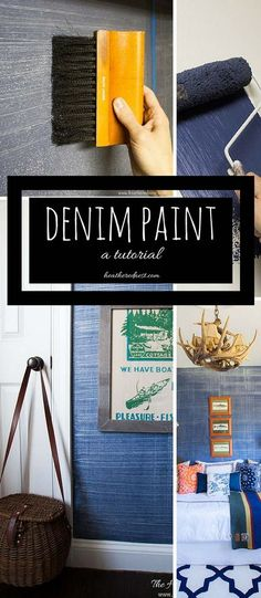 Denim faux finish for walls! GREAT paint idea to add texture and interest for an upscale look on a budget! Looks like grasscloth or real denim jeans #denimpaint #fauxfinish #denimpaintingdiy #denimpainttechnique #denimtexture #indigopaint #paintthatlookslikejeans Faux Finishes For Walls, Diy Wall Painting, Faux Painting, Painting Furniture, Texture Painting, Interior Painting, Funky Furniture, Wall Art, Furniture Design