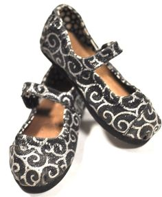 TOMS Kids Glitter Black Silver Mary Jane Girls Toddler Size 8T Shoes Flats f0153c9b87
