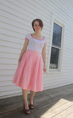Vintage Pink Gingham Skirt 50s Cotton Full S by soulrust on Etsy, $39.99