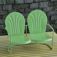 description~ Retro design is all of the rage these days, and this jade green love seat takes its cues from that retro trend. It is designed after the metal love seats still seen in lawns and gardens all around the world and dates to the and . Dollhouse Furniture, Garden Furniture, Tiny Garden Ideas, Mini Fairy Garden, Fairy Garden Supplies, Outdoor Chairs, Outdoor Decor, Outdoor Living, Miniature Fairy Gardens