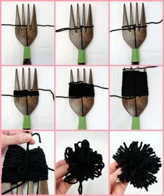How to Make Large Pom Poms using a decorative wooden fork Fifty Two Weekends of DIY #pompoms