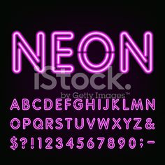 Neon Light Alphabet Font. royalty-free stock vector art