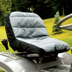 Tractor Seat Cover -$34.95- Protects your seat; adds pockets for storage Protect your new lawn tractor seat or spiff up your old one with this Padded Lawn Tractor Seat Cover. Cushioned, water repellent design has rear pockets for storage of small tools, portable radio, water bottle, etc. Big Tractors, Tractor Seats, Tool Shop, Shop Organization, Barcelona Chair, Green Fabric, Lawn Mower, Seat Cushions, Baby Strollers