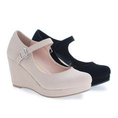 Mark By Classified, Round Toe Mary Jane Platform Wedge Sandals Platform Wedge Sandals, Wedge Heels, Mary Jane Wedges, High Wedges, Studded Boots, How To Look Classy, Alter, Mary Janes, Ankle