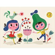 """""""Dutch Funky Fun Friends"""" Retro Wall Art for Children by Helen Dardik for Oopsy Daisy Kids Artwork, Canvas Artwork, Canvas Wall Art, Framed Art Prints, Poster Prints, Friend Canvas, Helen Dardik, Baby Wall Art, Art Lessons"""