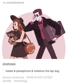➶➴➶➴➶ hades & persephone & cerberus the lap dog<< this is even better when you have read percy jackson Greek Gods And Goddesses, Greek And Roman Mythology, Hades Und Persephone, Lore Olympus, Bd Comics, Percy Jackson Fandom, Hades Percy Jackson, Lap Dogs, Heroes Of Olympus