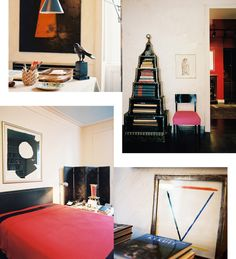 Clockwise from top left: A contemporary light fixture hangs nearbyHadley's personal desk; The German pyramical bookshelf, which Hadley purchased more than 40 years ago in a Third Avenue antique shop, commemorates the 1936 Berlin Olympics. Hadley upholstered the occasional chair in Schiaparelli shocking pink, one of his favorite colors;The staff of Parish-Hadley bough the Alexander Liberman painting, which orginially belonged to Vreeland, as a gift for Hadley from the 1990 Sotheby's auction…