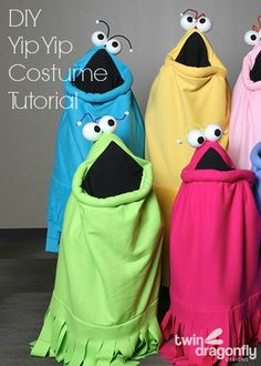 This DIY Yip Yip Costume tutorial is awesome. Complete with step-by-step instructions that make it easy to create your own Yip Yip this Halloween. Epic Costumes, Group Halloween Costumes, Halloween Kostüm, Cosplay Costumes, Clever Costumes, Witch Costumes, Costume Makeup, Vintage Halloween, Halloween Makeup