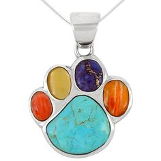 """Dog Paw Pendant Necklace 925 Sterling Silver Genuine Turquoise & Gemstones (20"""", Multi)"""