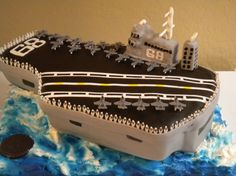 Aircraft carrier cake. This is so awesome! This is my Hubby's ship!! USS NIMITZ