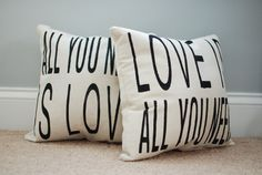 Beatles All You Need is Love pair of pillows by NickiDetwiler, $46.00