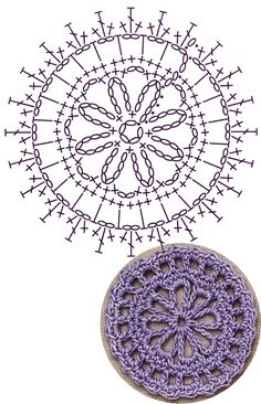 No 4 loop medallion lace crochet motifs 루프 모티브도안 Crochet Coaster Pattern, Crochet Motif Patterns, Crochet Box, Crochet Cross, Crochet Diagram, Crochet Round, Crochet Chart, Crochet Squares, Crochet Stitches