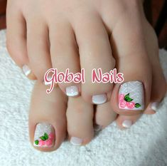 Pedicure Nails, Toe Nails, Manicure, Beauty Makeup, Hair Beauty, Toe Nail Designs, Christmas Nail Art, Pretty Nails, Lily