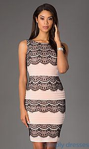 Buy Knee Length Sleeveless Dress with Lace Detailing at SimplyDresses
