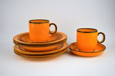 Thomas Danish Gold Dinnerware - 8 Pieces - Cups & Saucers, Bowls and Plates - Made in West Germany