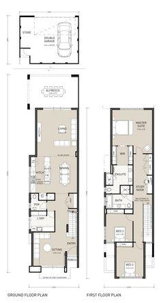 Double Storey House Plans, Narrow Lot House Plans, Two Story House Plans, The Plan, Duplex House Plans, House Floor Plans, Town House Plans, Shotgun House Plans, Narrow House Designs