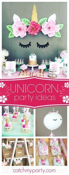 Swoon over this wonderful unicorn birthday party. The unicorn backdrop with the paper flowers is gorgeous!! See more party ideas and share yours at CatchMyParty.com #unicorn #girlbirthday