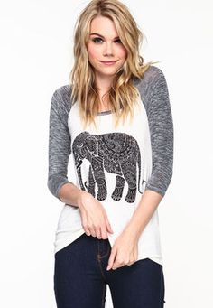 Tribal Elephant Baseball Tee - LoveCulture from Love Culture. Saved to Tops . Shop more products from Love Culture on Wanelo. Junior Outfits, Outfits For Teens, Trendy Outfits, Tribal Elephant, Love Culture, Spring Outfits, Spring Clothes, Cheap Clothes, Baseball
