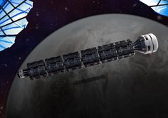 Travel the Solar System Aboard a Train That Never Stops | The Solar Express is a conceptual space train that would ferry humans, supplies, and minerals between celestial bodies and space stations. | Credit: Boris Schwarzer | From Wired.com