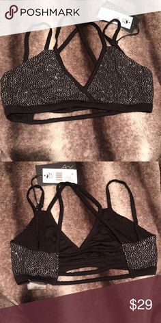 efd780a403 Chaser strappy cross back bralette Chaser strappy cross back bralette in  black and silver sparkles Intimates
