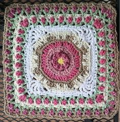 "Ravelry: Fountain of Roses 12"" Square by Shan Sevcik"