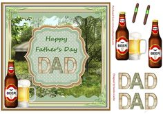 A great 'Father's Day' Decoupage Topper.  Sheet includes:  Main Topper approx: 8x8ins  Decoupage Elements  'DAD' Decoupage Elements  2 x 'cigar' embellishments if you wish to add them to your card front.  There are also 2 matching inserts - cup780540_719 & cup780547_719 which can be purchased separately.  I have designed a collection of these 'Father's Day' Toppers with different backdrops which you can view by clicking on the thumbnail images below...