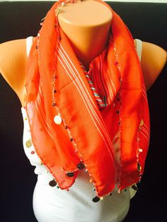 Traditional stripped red scarf boho scarf women scarf by GCbazaar