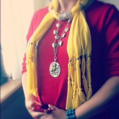 Pretty yellow with silver owl Jewellery scarf from VG market. Love it!