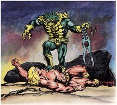 He-Man's origin story changed dramatically over the first few years of his existence. In the Alcala/Glut mini comics, he was a jungle warrior who had been gifted by the Sorceress/Goddess with some powerful weapons and artifacts. His harness acted as a force field and amplified his strength. He-Man was strong but he couldn't move mountains. He could be overpowered by enemies like Beast Man or Mer-Man, if he wasn't careful. He-Man was always He-Man in this continuity – there was no Prince…