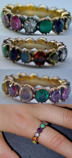 Delightful multi-stone Georgian eternity band containing a variety of gems including diamond, ruby, emerald, turquoise, amethyst and sapphire. Circa 1820. The closed back 18K gold setting is typical of this period. Via 1stdibs.com.