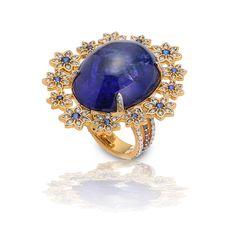 Buddha Mama Tanzanite, Sapphire and Diamond Ring