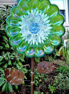 vintage glass plate flower garden art yard art by ADelicateTouch1