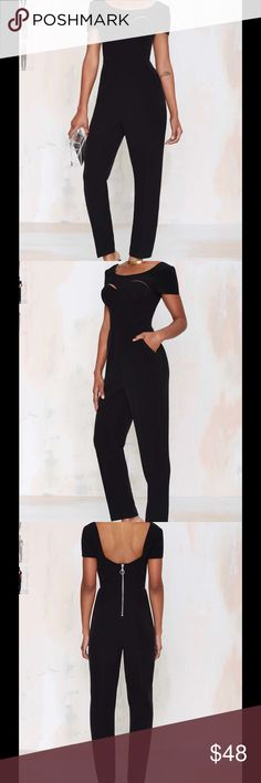 Nasty Gal Rhapsody Cutout Jumpsuit Brand new jumpsuit from Nasty Gal. Black jumpsuit with short sleeves, scoop back with exposed zipper and sassy front cut outs. Nasty Gal Pants Jumpsuits & Rompers