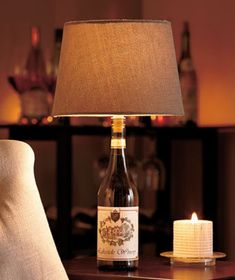 The Wine Cork Lamp Kit instantly turns a wine bottle into a working lamp. Simply insert the bulb socket, which is mounted on a cork stopper, into an empty wine bottle. Add your own 40-Watt type A light bulb, select a shade and plug it in with the pro