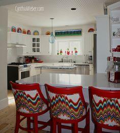 fun and cheery cottage kitchen reno, countertops, home decor, home improvement, kitchen backsplash, kitchen design, kitchen island, Fun and bold custom counter stools