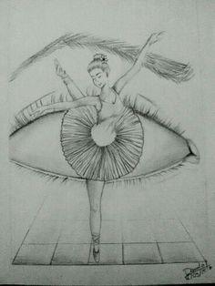 Hermosa bailarina en el hojo de una persona bellísimo dibujo
