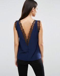 ASOS | ASOS Deep Plunge Lace Insert Camisole Vest