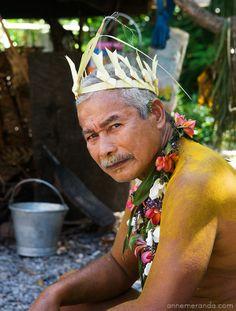 Chief Mannu in Ifalik Island, Micronesia
