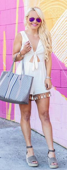White Romper & Grey Suede Platform Sandals