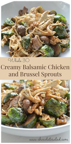 wis 24 Hour Cuisine Recipes: Creamy Balsamic Chicken and Brussel Sprouts (Whole Amazingly flavorful meal great whether you are doing the Whole 30 or not! Whole 30 Lunch, Whole 30 Diet, Paleo Whole 30, Whole 30 Meals, Whole 30 Costco, Whole 30 Drinks, Whole 30 Sauces, Whole 30 Vegetarian, Paleo Recipes