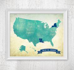 Custom US Map art print / United States Map / by corkandbirchmaps, $29.00