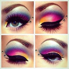 Funky colorful eye makeup with sequins