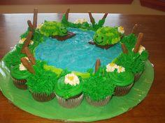 Turtle pond cake. Beautiful Cakes, Amazing Cakes, Pond Decorations, Pond Cake, Duck Cake, Cupcake Cakes, Fun Cakes, Cupcake Ideas, Cupcake Recipes