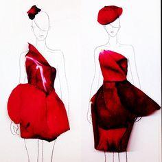 Using Real Flower Petals, Designer Creates Beautiful Fashion Illustrations - DesignTAXI.com