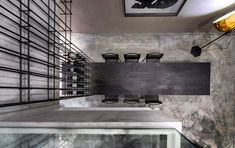 A steel cage unites the elements in this apartment